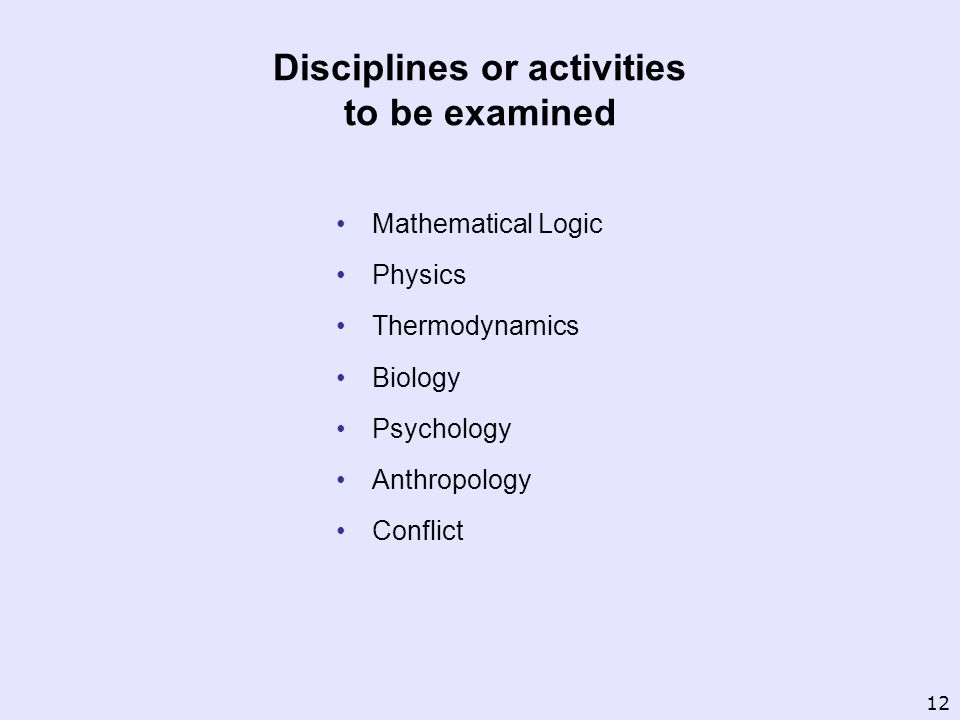 Disciplines or activities to be examined Mathematical Logic Physics Thermodynamics Biology Psychology Anthropology Conflict 12