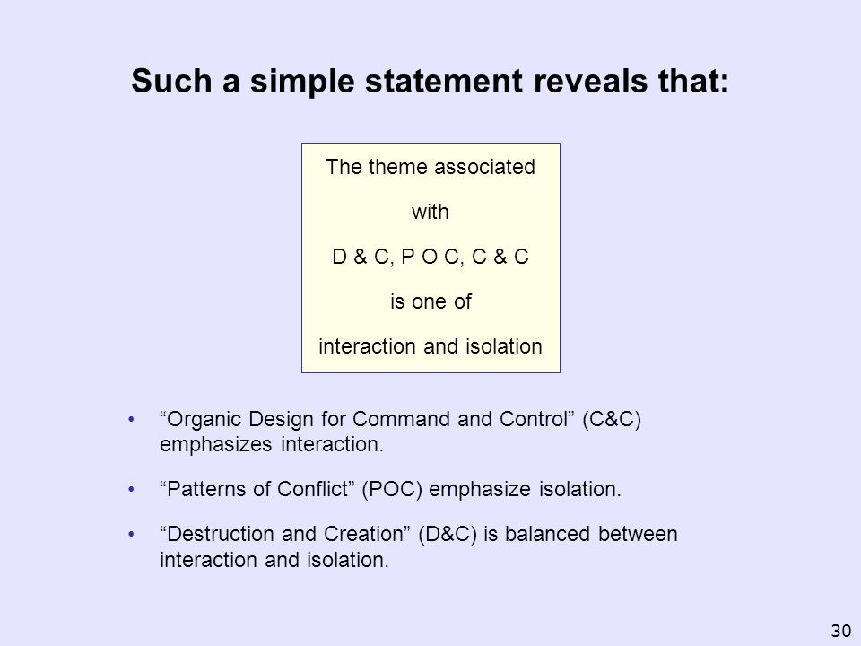 The theme associated with D & C, P O C, C & C is one of interaction and isolation Organic Design for Command and Control (C&C) emphasizes interaction.