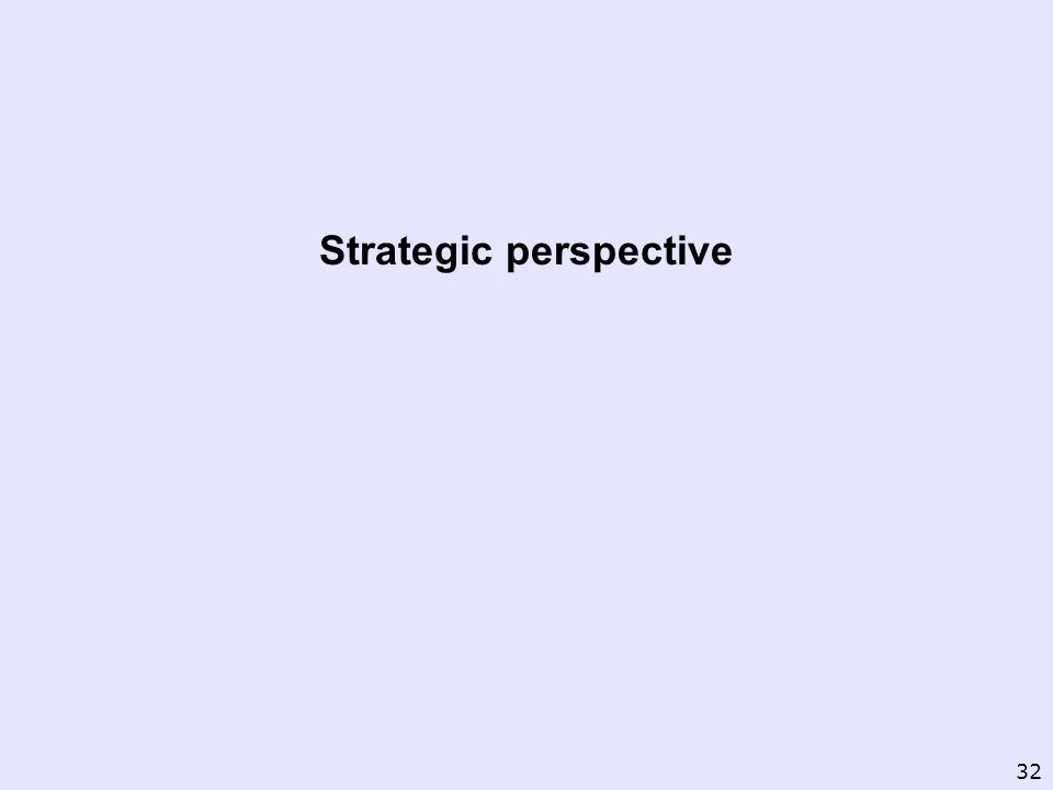 Strategic perspective 32