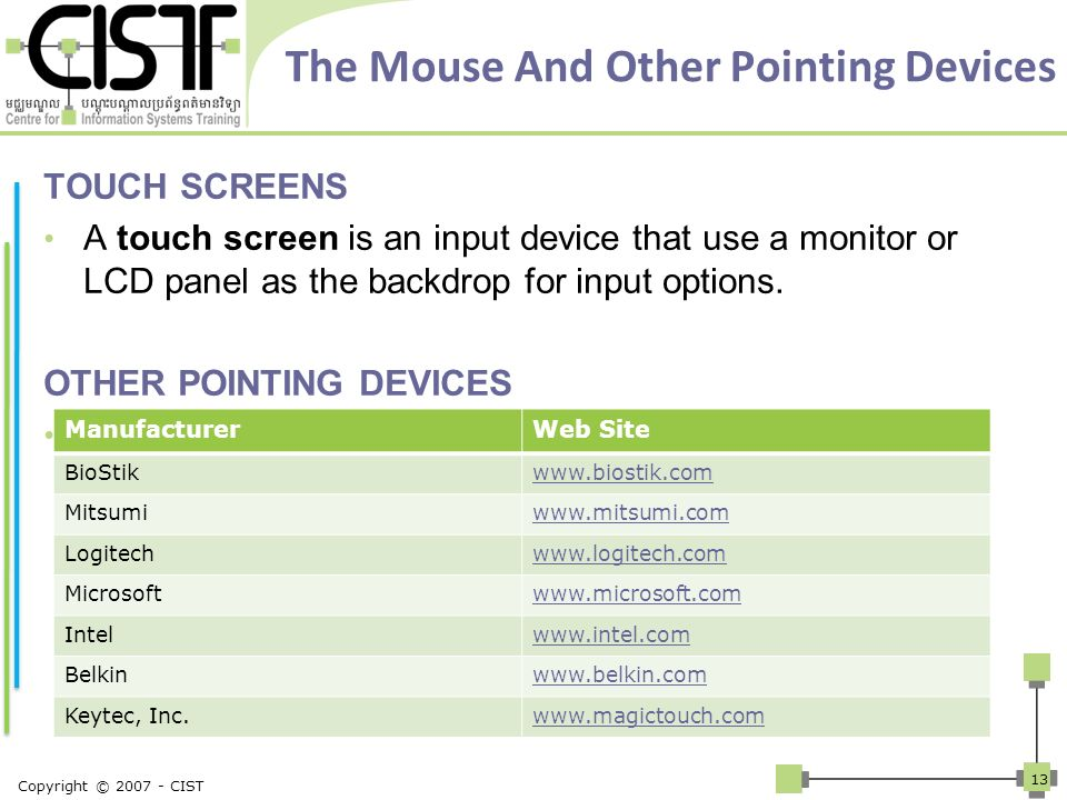 The Mouse And Other Pointing Devices TOUCH SCREENS A touch screen is an input device that use a monitor or LCD panel as the backdrop for input options