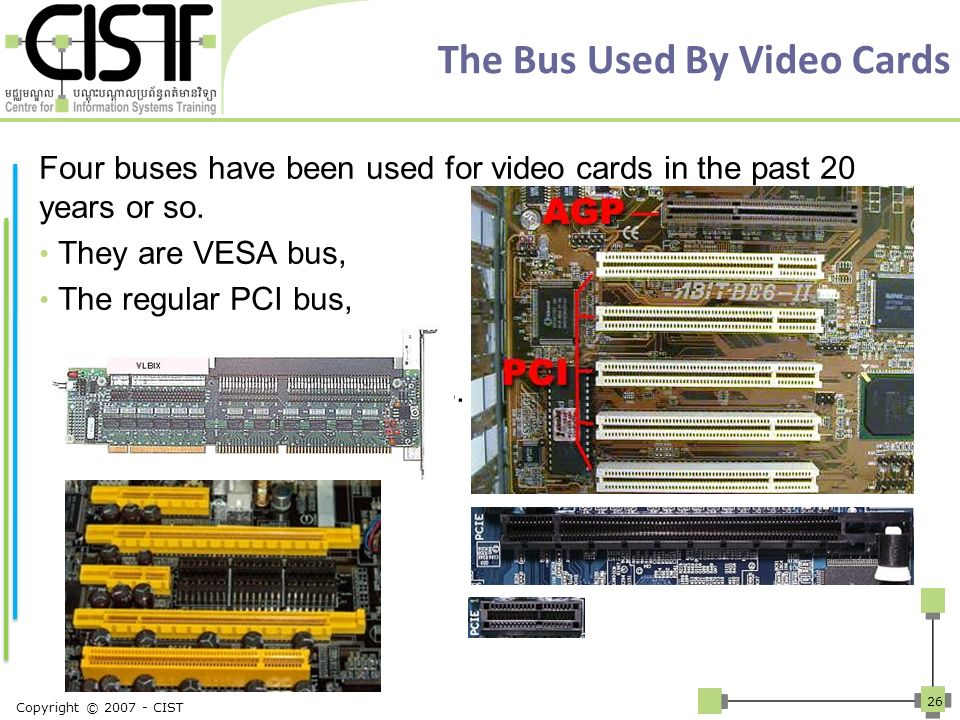 The Bus Used By Video Cards Four buses have been used for video cards in the past 20 years or so. They are VESA bus, The regular PCI bus, The AGP bus,