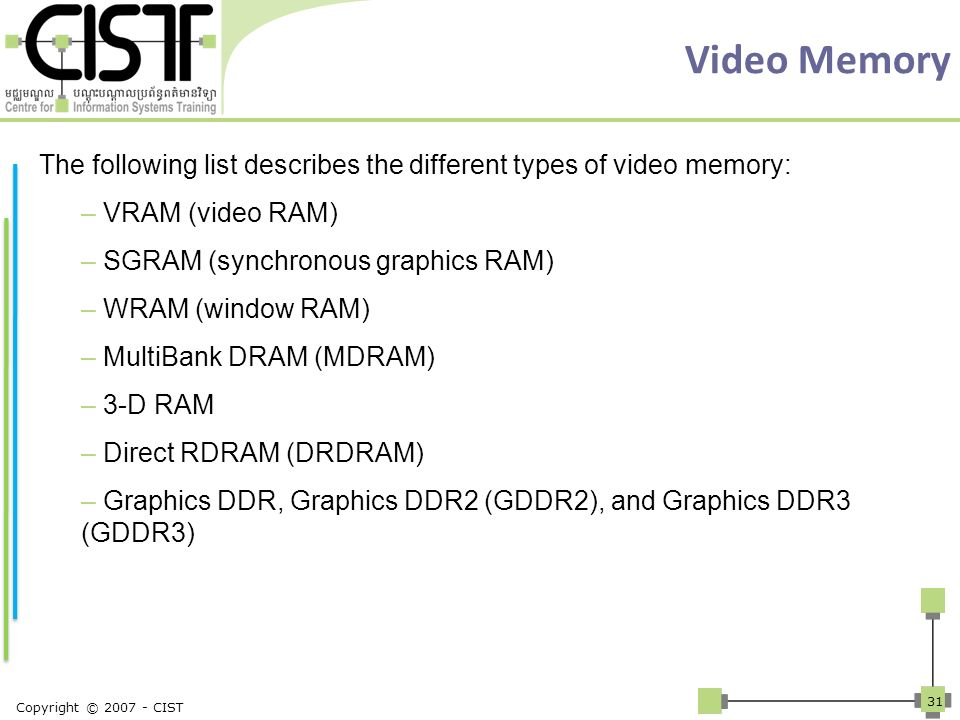 Video Memory The following list describes the different types of video memory: – VRAM (video RAM) – SGRAM (synchronous graphics RAM) – WRAM (window RA