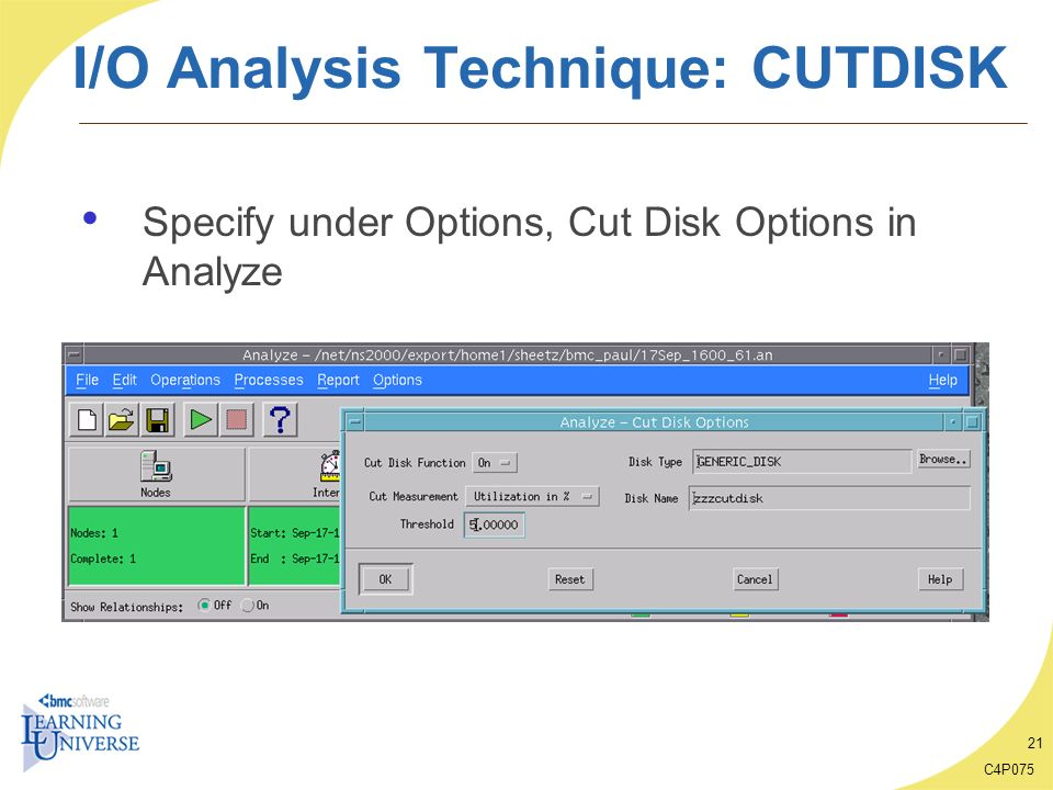 C4P075 21 I/O Analysis Technique: CUTDISK Specify under Options, Cut Disk Options in Analyze