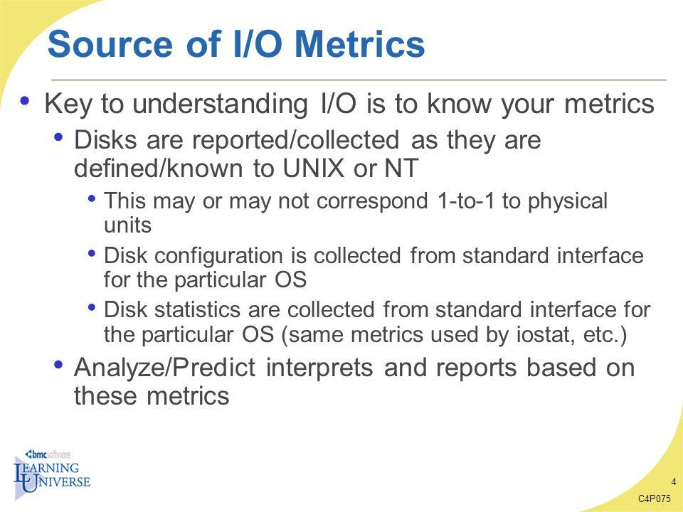 C4P075 35 What-if Case Study: Benchmark Data Analysis Key I/O characteristics: I/Os vs.