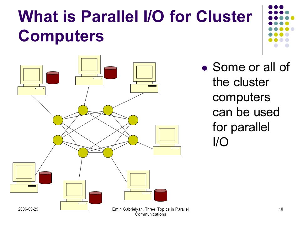 2006-09-29Emin Gabrielyan, Three Topics in Parallel Communications 10 What is Parallel I/O for Cluster Computers Some or all of the cluster computers