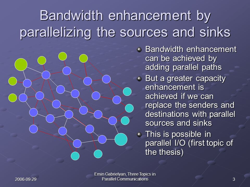 32006-09-29 Emin Gabrielyan, Three Topics in Parallel Communications Bandwidth enhancement by parallelizing the sources and sinks Bandwidth enhancemen