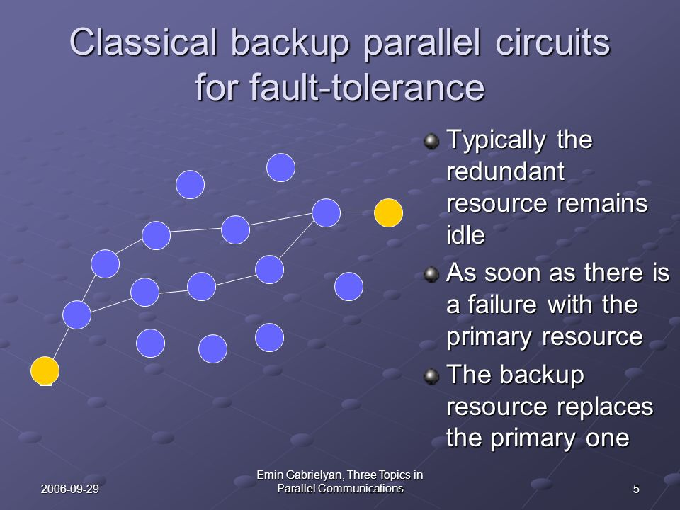 52006-09-29 Emin Gabrielyan, Three Topics in Parallel Communications Classical backup parallel circuits for fault-tolerance Typically the redundant re