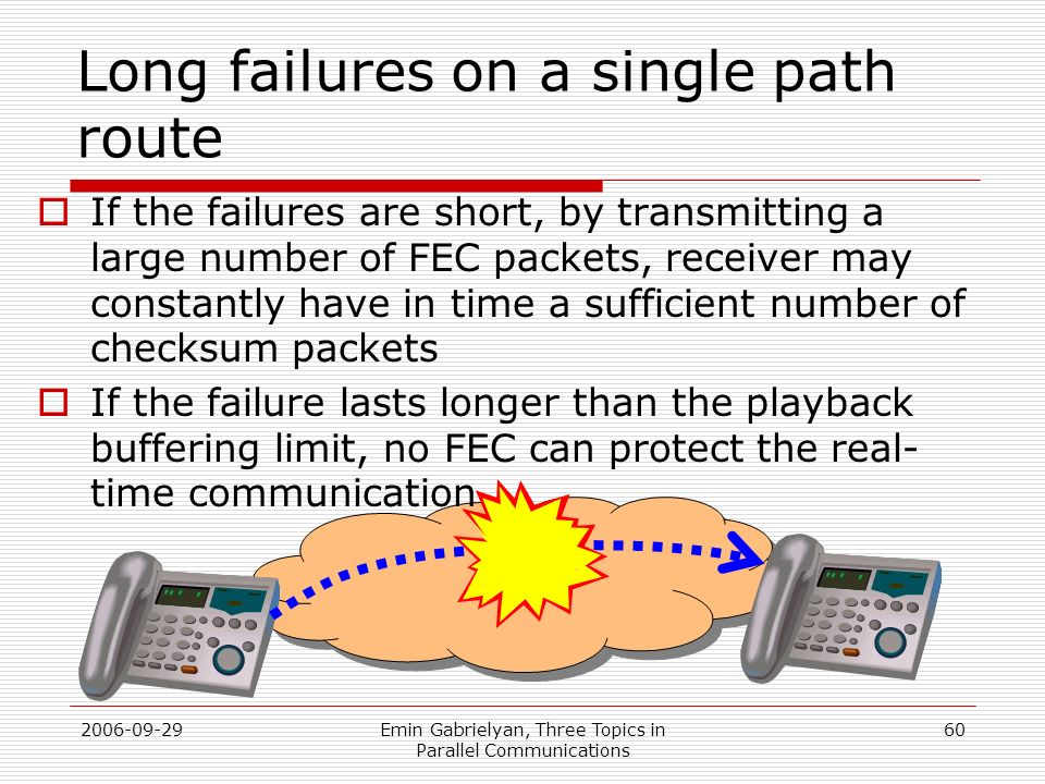 2006-09-29Emin Gabrielyan, Three Topics in Parallel Communications 60 Long failures on a single path route If the failures are short, by transmitting