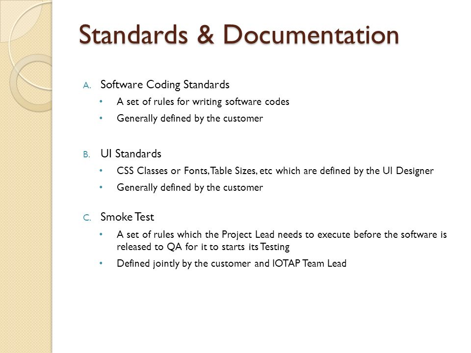 Standards & Documentation A.