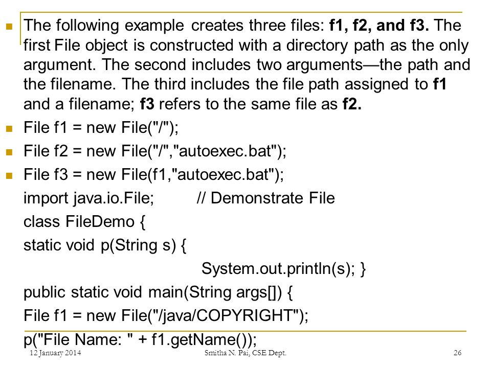 The following example creates three files: f1, f2, and f3.