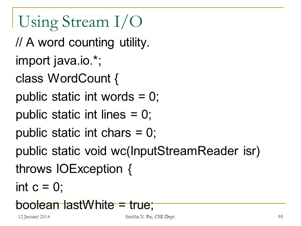 Using Stream I/O // A word counting utility.