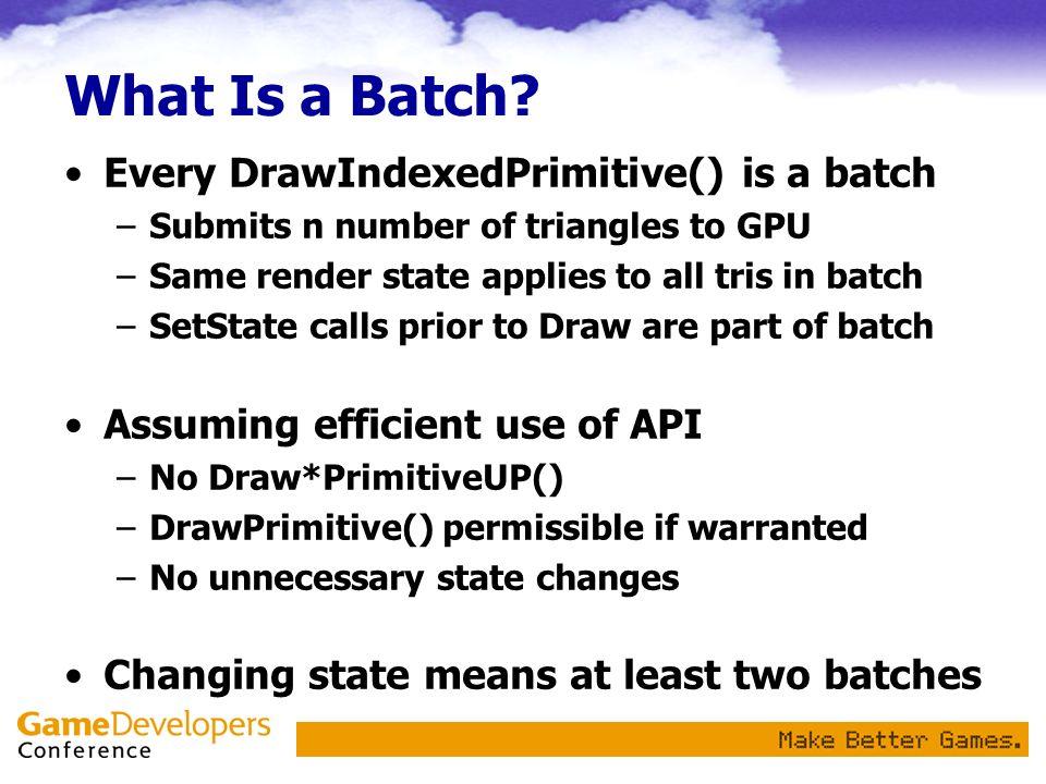Measured Batches Per Second 1GHz Pentium 3 Athlon XP 2.7+ ~170k batches/s ~60k batches/s x ~2.7