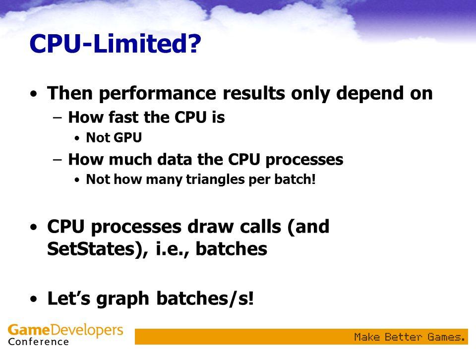 What To Expect If CPU Limited batch-size: triangles/batch batches/s fast CPU slow CPU GPU 1 GPU 2 GPU 3