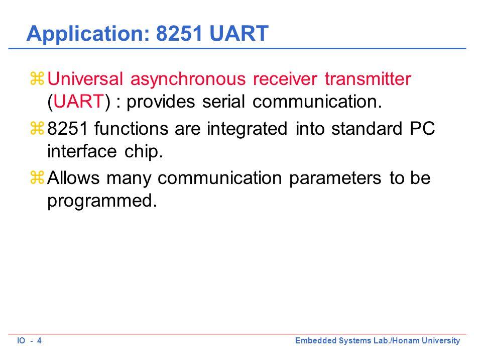 IO - 4Embedded Systems Lab./Honam University Application: 8251 UART zUniversal asynchronous receiver transmitter (UART) : provides serial communicatio