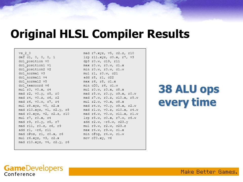 Original HLSL Compiler Results vs_2_0 def c1, 0, 0, 0, 1 dcl_position v0 dcl_position1 v1 dcl_position2 v2 dcl_normal v3 dcl_normal1 v4 dcl_normal2 v5