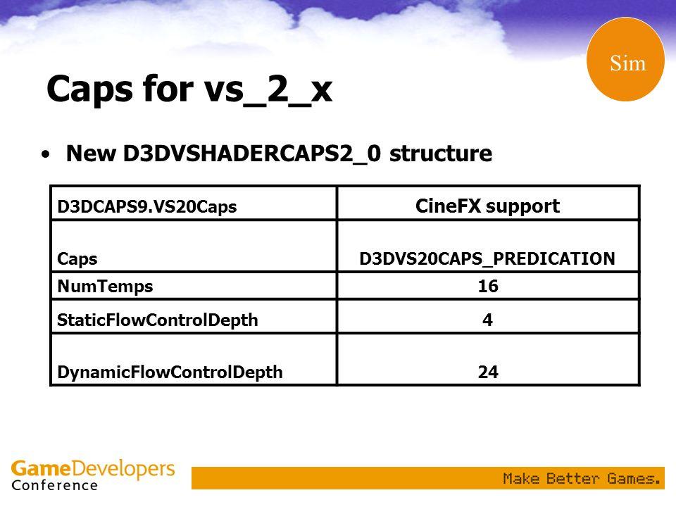 Caps for vs_2_x New D3DVSHADERCAPS2_0 structure D3DCAPS9.VS20Caps CineFX support CapsD3DVS20CAPS_PREDICATION NumTemps16 StaticFlowControlDepth 4 Dynam