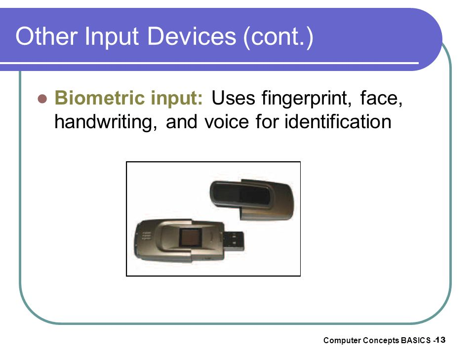 Computer Concepts BASICS - 13 Other Input Devices (cont.) Biometric input: Uses fingerprint, face, handwriting, and voice for identification