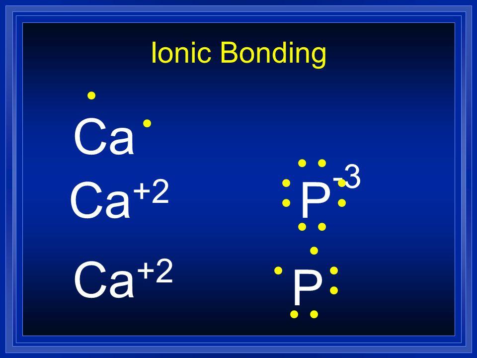 Ionic Bonding Ca +2 P -3 Ca +2 P