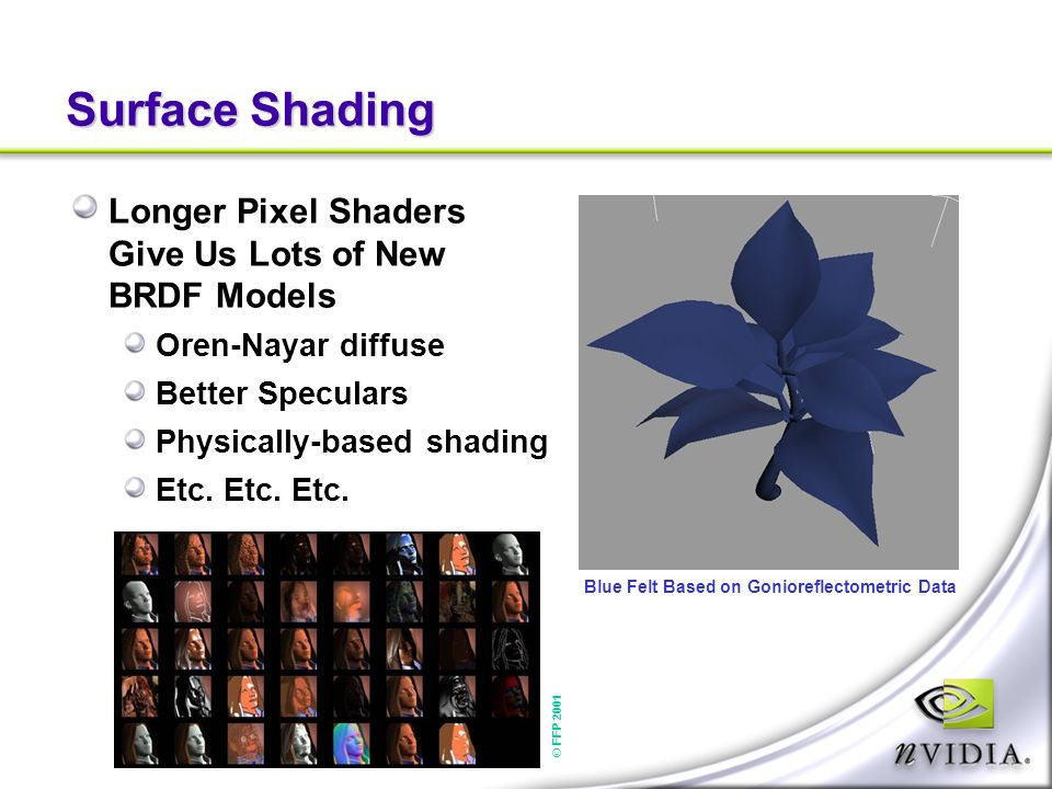 Surface Shading Longer Pixel Shaders Give Us Lots of New BRDF Models Oren-Nayar diffuse Better Speculars Physically-based shading Etc.