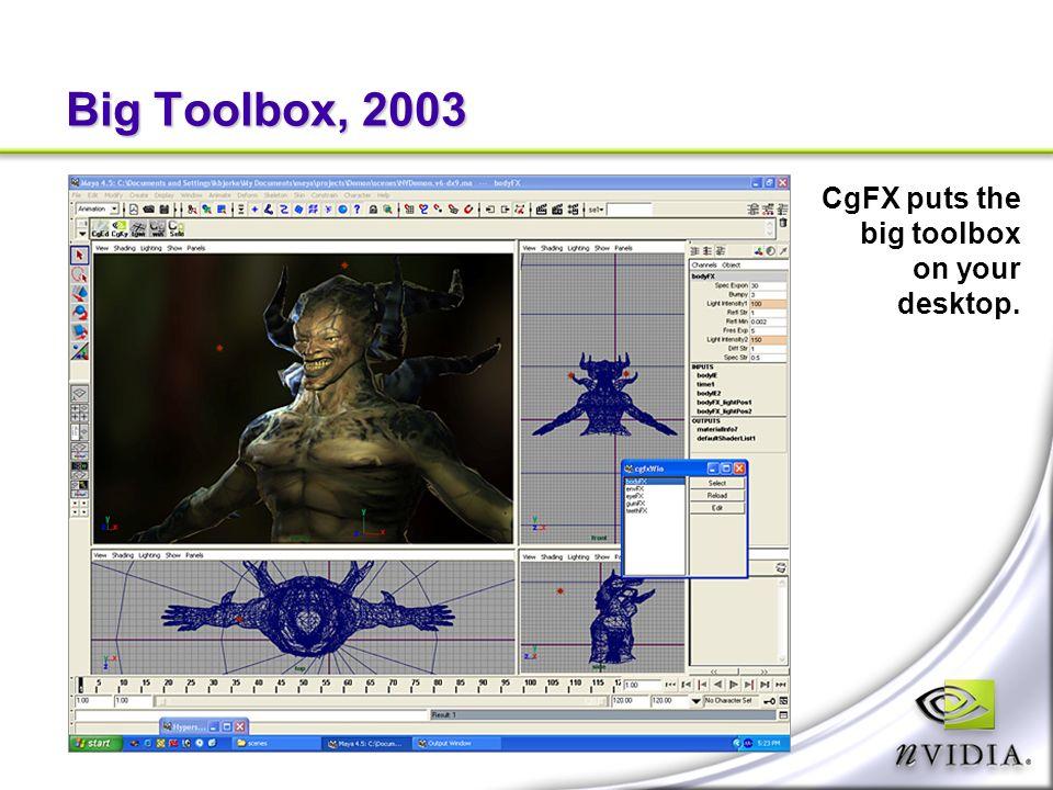 Big Toolbox, 2003 CgFX puts the big toolbox on your desktop.