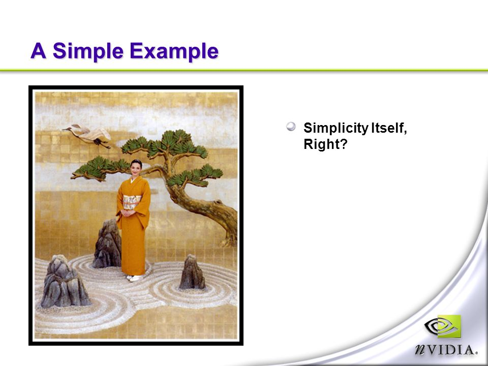 A Simple Example Simplicity Itself, Right