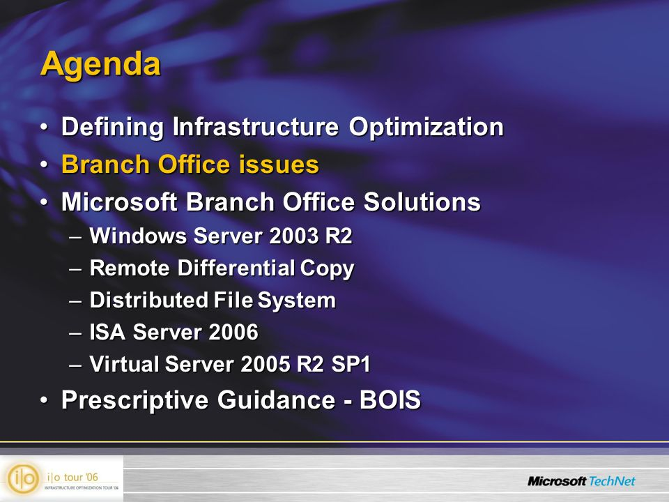Agenda Defining Infrastructure OptimizationDefining Infrastructure Optimization Branch Office issuesBranch Office issues Microsoft Branch Office Solut