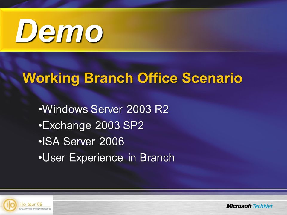 Demo Demo Working Branch Office Scenario Windows Server 2003 R2Windows Server 2003 R2 Exchange 2003 SP2Exchange 2003 SP2 ISA Server 2006ISA Server 2006 User Experience in BranchUser Experience in Branch