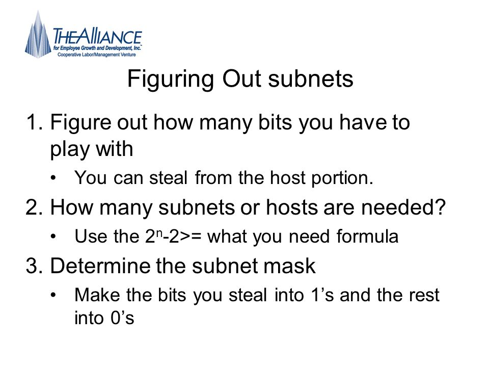 Figuring Out subnets 1.Figure out how many bits you have to play with You can steal from the host portion. 2.How many subnets or hosts are needed? Use