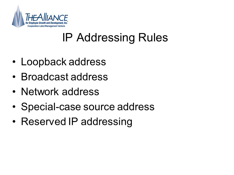 IP Addressing Rules Loopback address Broadcast address Network address Special-case source address Reserved IP addressing