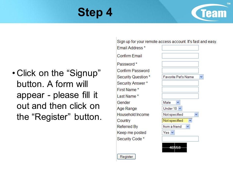 Step 4 Click on the Signup button.