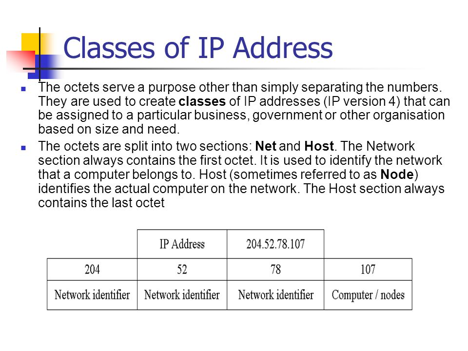 Classes of IP Address The octets serve a purpose other than simply separating the numbers.