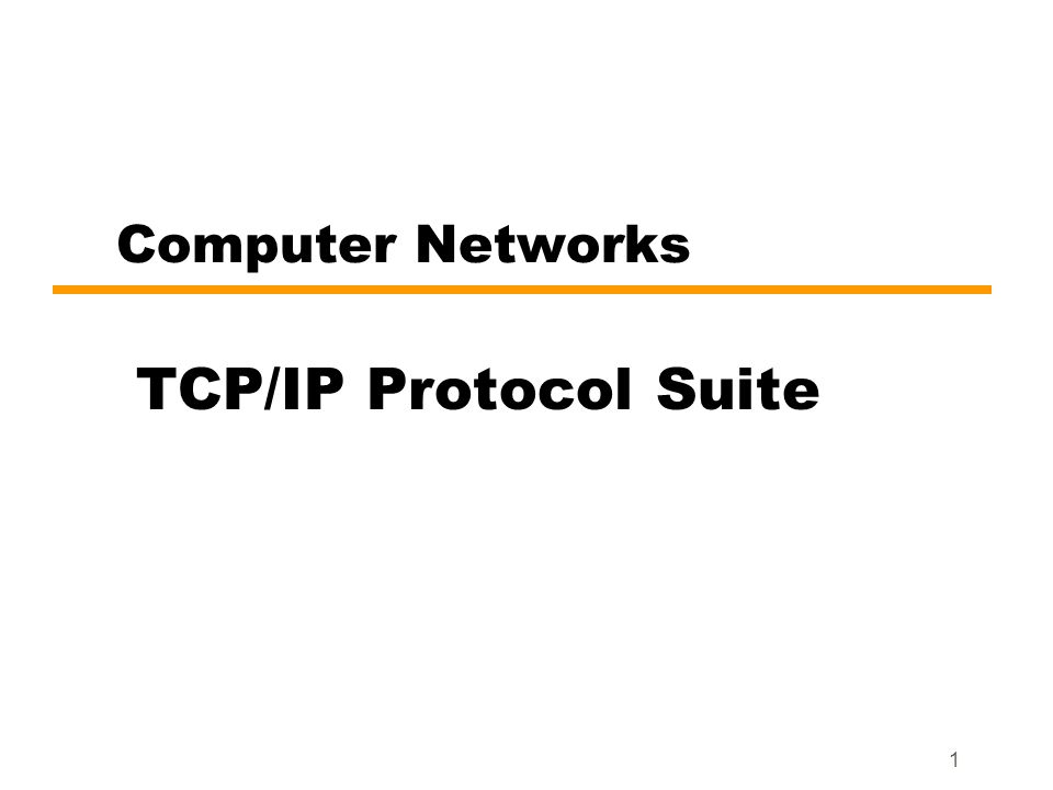 1 Computer Networks TCP/IP Protocol Suite