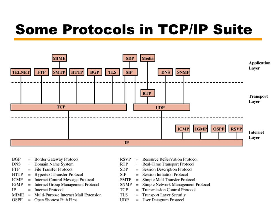 25 Some Protocols in TCP/IP Suite
