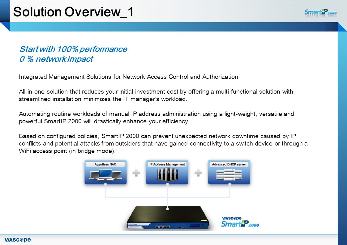 Solution Overview_1 Start with 100% performance 0 % network impact Integrated Management Solutions for Network Access Control and Authorization All-in-one solution that reduces your initial investment cost by offering a multi-functional solution with streamlined installation minimizes the IT managers workload.