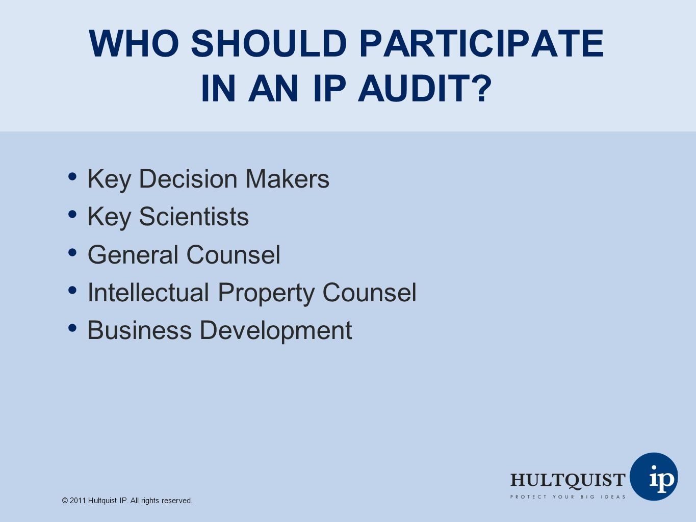 IMPORTANT ASPECTS OF AN IP AUDIT Verify IP ownership Consider whether commercially relevant subject matter is claimed, and if not, whether there is support for an amendment Consider whether desired foreign filings and continuation/divisional applications have been pursued Consider whether all relevant prior art has been cited Ensure that the inventorship is correct © 2011 Hultquist IP.
