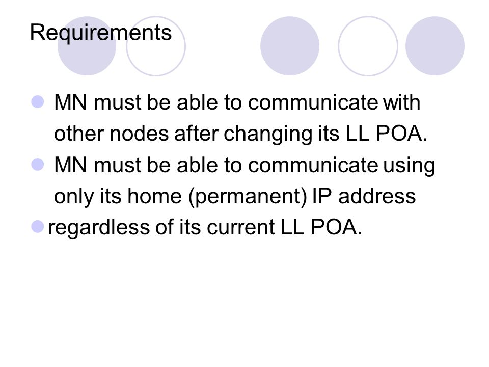 Requirements MN must be able to communicate with other nodes after changing its LL POA. MN must be able to communicate using only its home (permanent)