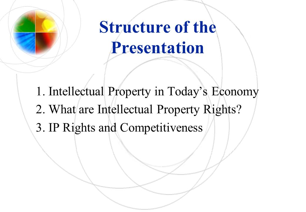 Structure of the Presentation 1. Intellectual Property in Todays Economy 2.