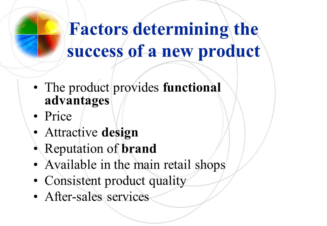 Factors determining the success of a new product The product provides functional advantages Price Attractive design Reputation of brand Available in the main retail shops Consistent product quality After-sales services