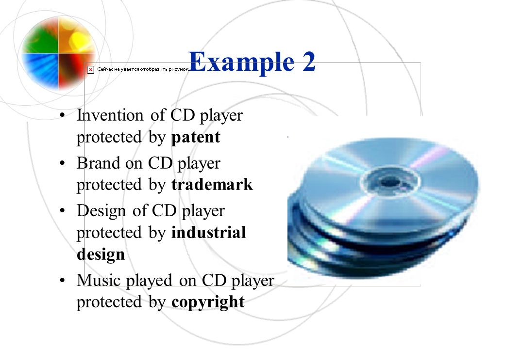 Example 2 Invention of CD player protected by patent Brand on CD player protected by trademark Design of CD player protected by industrial design Music played on CD player protected by copyright