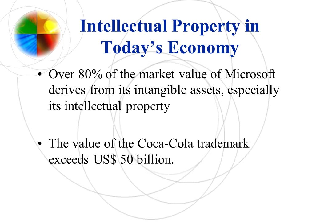 Intellectual Property in Todays Economy Over 80% of the market value of Microsoft derives from its intangible assets, especially its intellectual property The value of the Coca-Cola trademark exceeds US$ 50 billion.