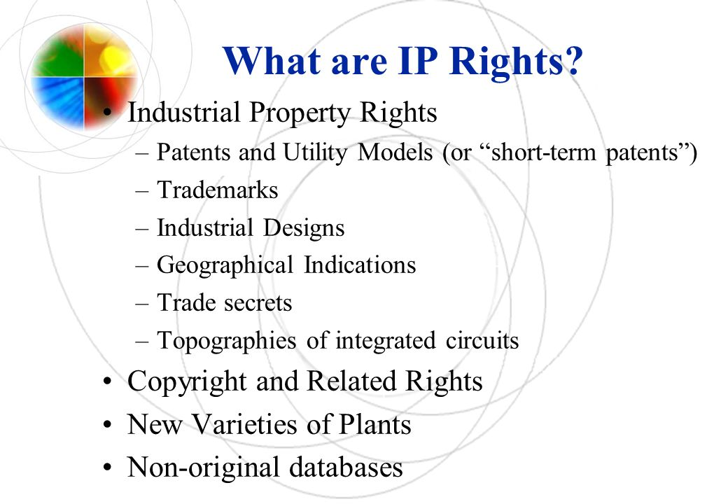 IP Rights: Patents Definition: A patent is an exclusive legal right granted for an invention that is: –New (Novelty) –Involves an inventive step (Non obvious) –Capable of industrial application Duration: 20 years from filing date Territorial right Requires disclosure of the invention Can be licensed to third parties Utility Models (or short-term patent): up to 10 years