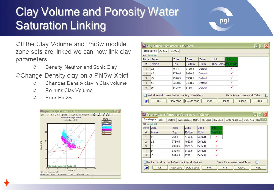 Clay Volume and Porosity Water Saturation Linking If the Clay Volume and PhiSw module zone sets are linked we can now link clay parameters Density, Ne
