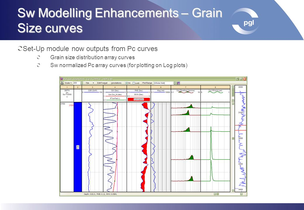Sw Modelling Enhancements – Grain Size curves Set-Up module now outputs from Pc curves Grain size distribution array curves Sw normalized Pc array cur