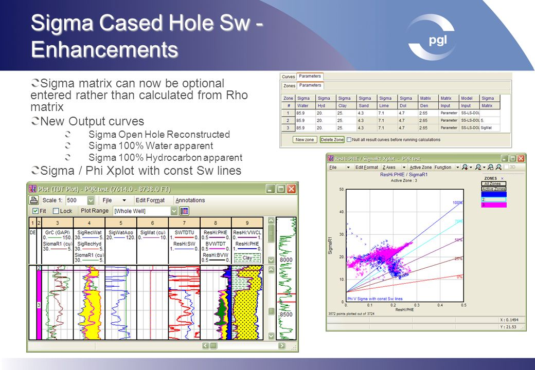 Sigma Cased Hole Sw - Enhancements Sigma matrix can now be optional entered rather than calculated from Rho matrix New Output curves Sigma Open Hole R