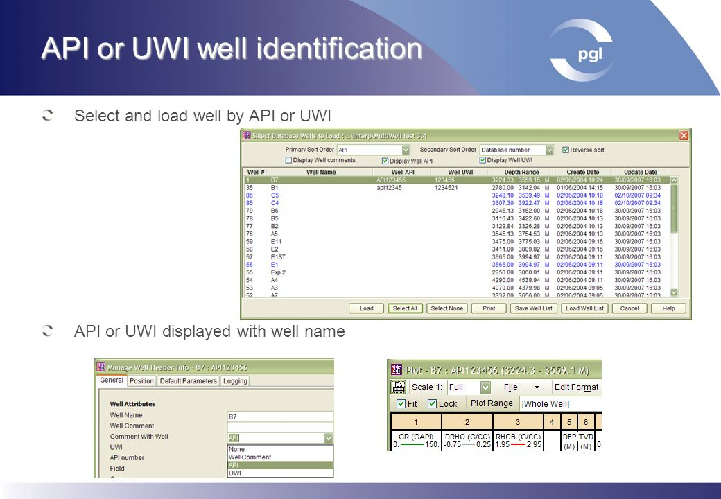 API or UWI well identification Select and load well by API or UWI API or UWI displayed with well name