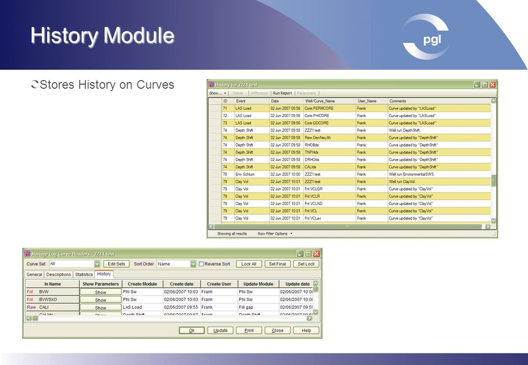 History Module Stores Parameter listings Makes comparison between listings