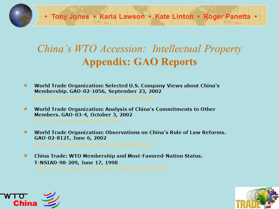 Chinas WTO Accession: Intellectual Property Appendix IV M.
