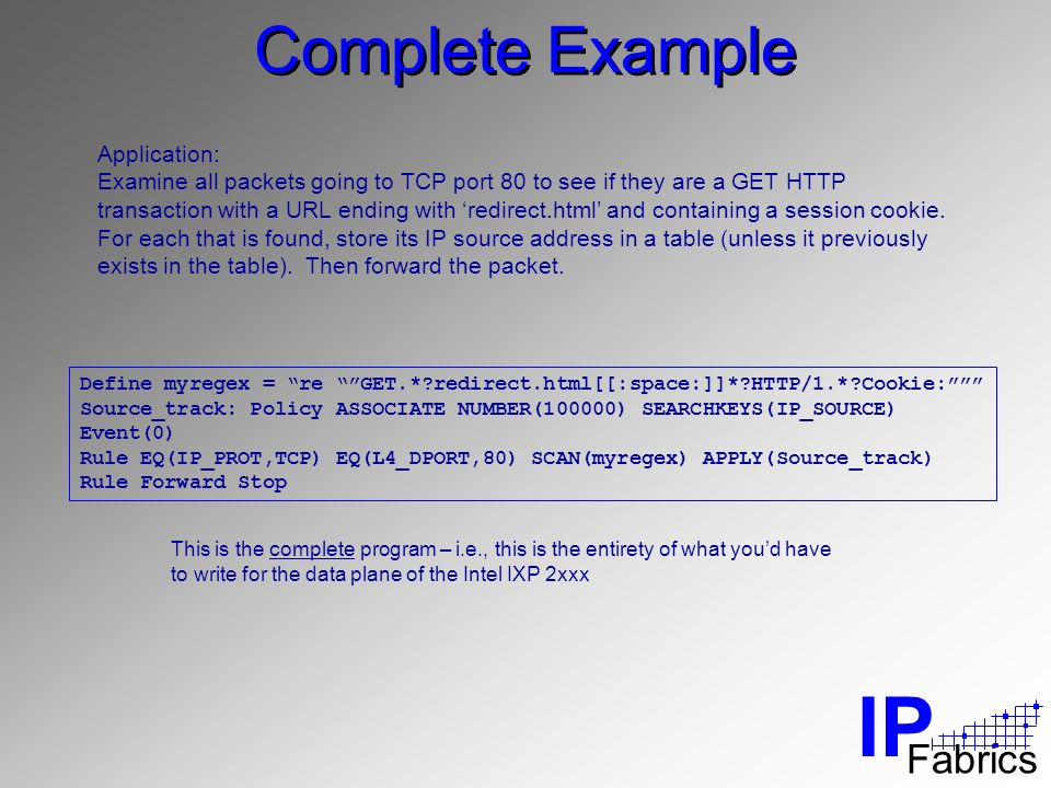 IP Fabrics Complete Example Application: Examine all packets going to TCP port 80 to see if they are a GET HTTP transaction with a URL ending with redirect.html and containing a session cookie.