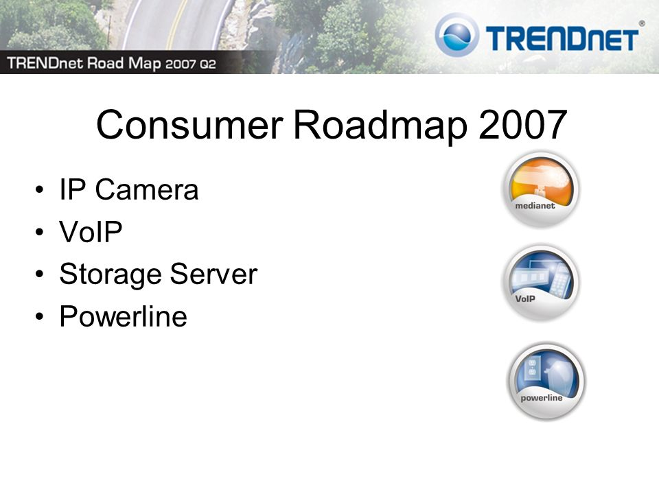 Consumer Roadmap 2007 IP Camera VoIP Storage Server Powerline