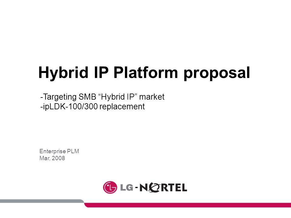 Hybrid IP Platform proposal Enterprise PLM Mar, 2008 -Targeting SMB Hybrid IP market -ipLDK-100/300 replacement